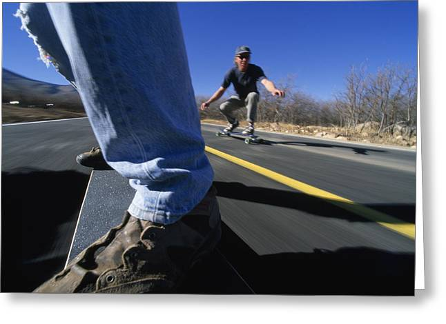 Skateboarders On A Smooth Road Greeting Card