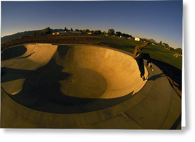 Skateboarding In A Skate Park Greeting Card by Bill Hatcher