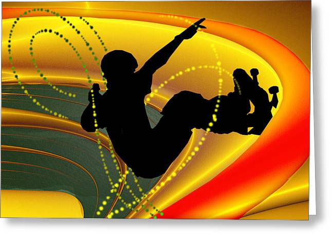 Skateboarding In The Bowl Silhouette Greeting Card by Elaine Plesser