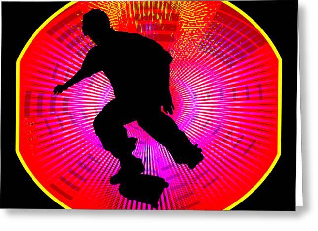 Skateboarding On Fluorescent Starburst Greeting Card
