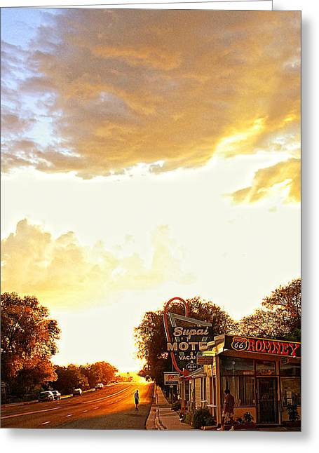 Skateboarding On Route 66 Greeting Card by Ron Regalado
