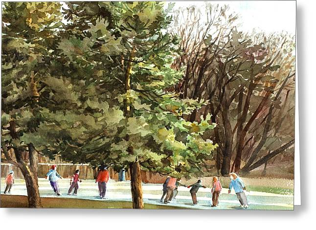 Skaters Greeting Card by Peter Sit