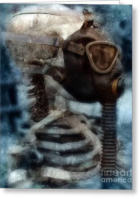 Skeleton In Gas Mask Greeting Card by Jill Battaglia