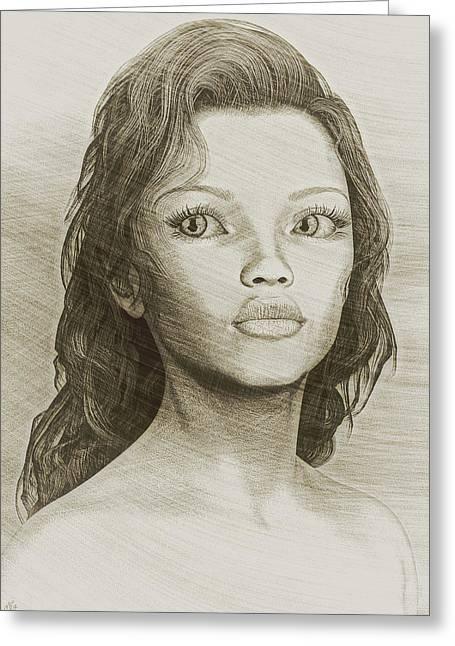 Sketched Portrait Greeting Card by Maynard Ellis