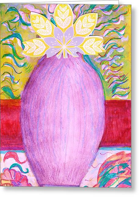 Sketched Vase With Imagined Flowers Greeting Card by Anne-Elizabeth Whiteway