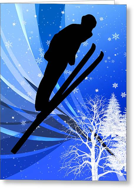 Ski Jumping In The Snow Greeting Card by Elaine Plesser
