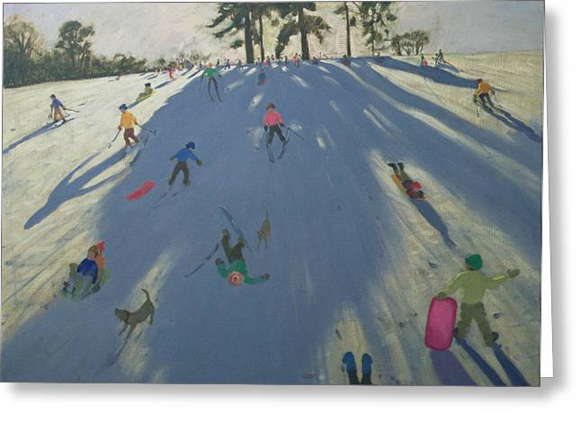 Skiing Greeting Card by Andrew Macara