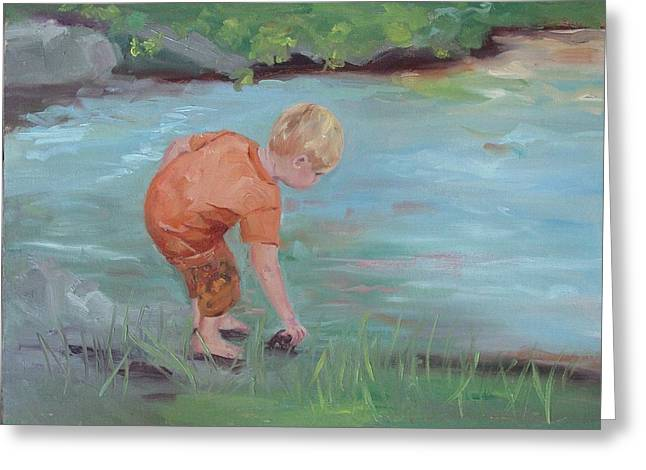 Greeting Card featuring the painting Skipping Stones by Carol Berning