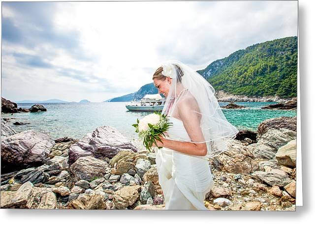 Skopelos Mamma Mia Wedding Greeting Card by Nick Karvounis