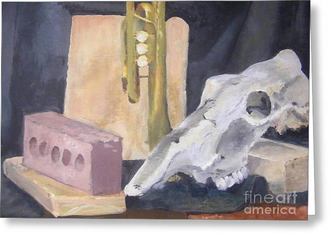 Skull And Brick Greeting Card by Delores Swanson