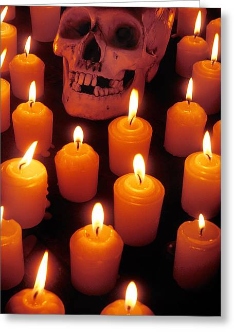 Skull And Candles Greeting Card