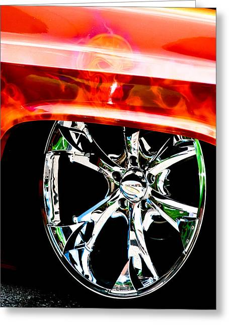 Skull And Chrome Greeting Card by Toni Hopper