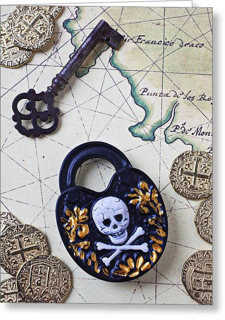 Skull And Cross Bones Lock Greeting Card by Garry Gay