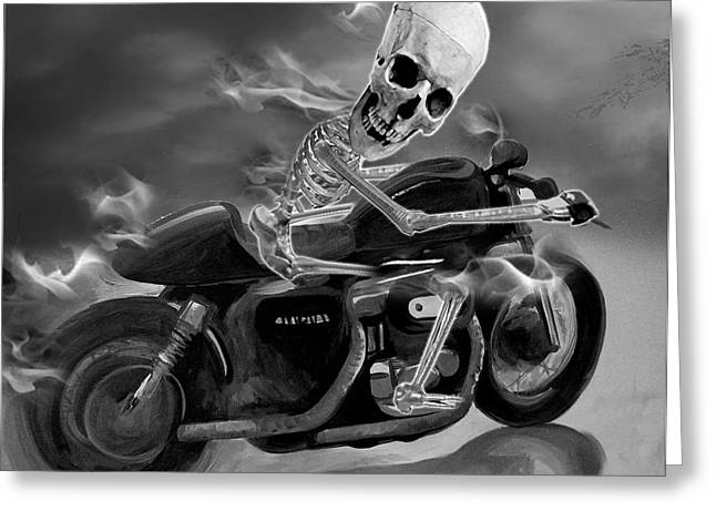 Skull Rider On Cafe Sportster Greeting Card by Janet Oh