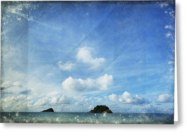 Sky And Cloud On Old Paper Greeting Card by Setsiri Silapasuwanchai