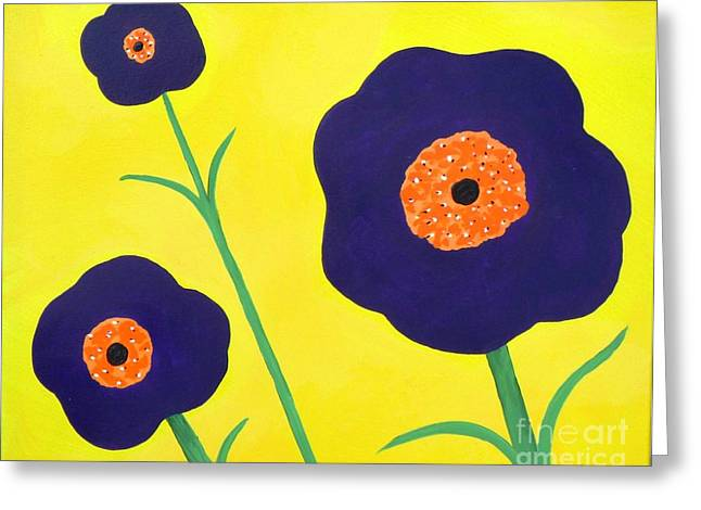 Greeting Card featuring the painting Sky High Flowers by Alys Caviness-Gober