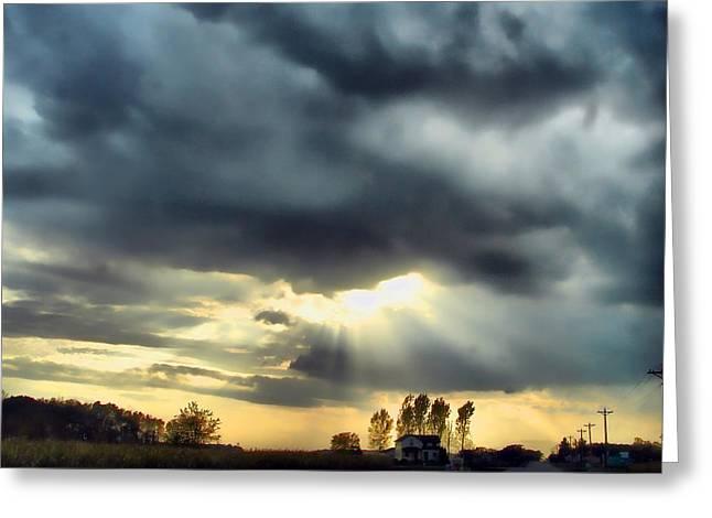 Sky In Turmoil Greeting Card by Tom Schmidt