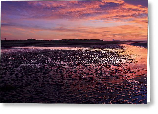 Skyfire Beach Sunrise Greeting Card by Fiona Messenger