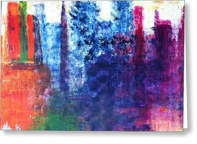 Greeting Card featuring the painting Skyline by Kristine Bogdanovich