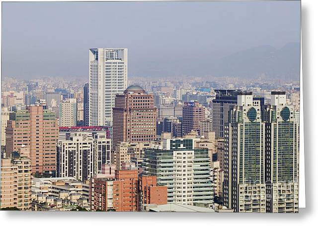 Skyline Of Downtown Taipei On A Smoggy Day Greeting Card by Jeremy Woodhouse