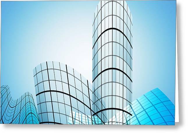 Skyscrapers In The City Greeting Card by Setsiri Silapasuwanchai