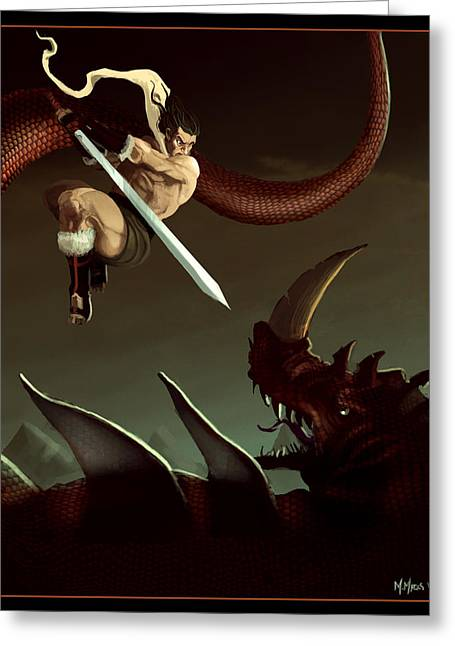 Greeting Card featuring the digital art Slay The Dragon by Michael Myers