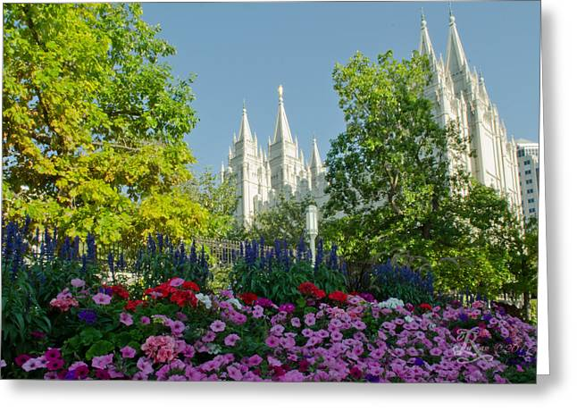 Slc Temple Flowers Greeting Card by La Rae  Roberts