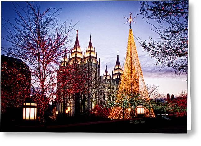 Slc Temple Tree Light Greeting Card by La Rae  Roberts