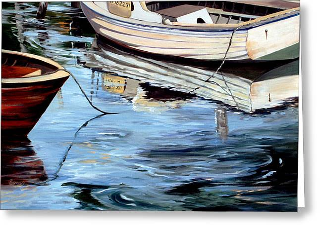 Greeting Card featuring the painting Sleepy Harbor 5 by Rae Andrews