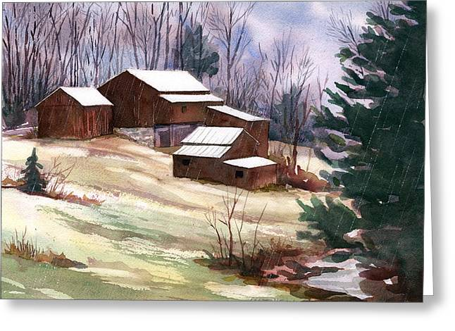 Sleet On Sheds Greeting Card by Jeff Mathison