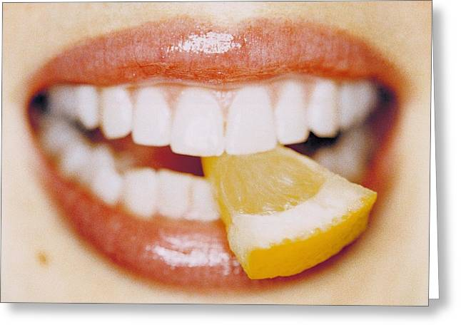 Slice Of Lemon Between Teeth Greeting Card by Cristina Pedrazzini