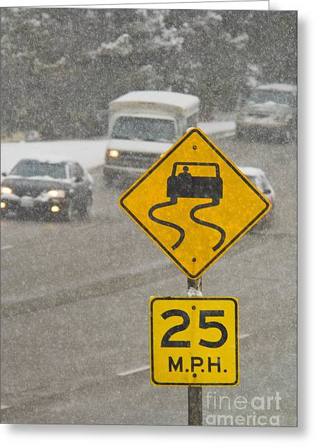 Slippery When Wet Road Sign Greeting Card by Thom Gourley/Flatbread Images, LLC