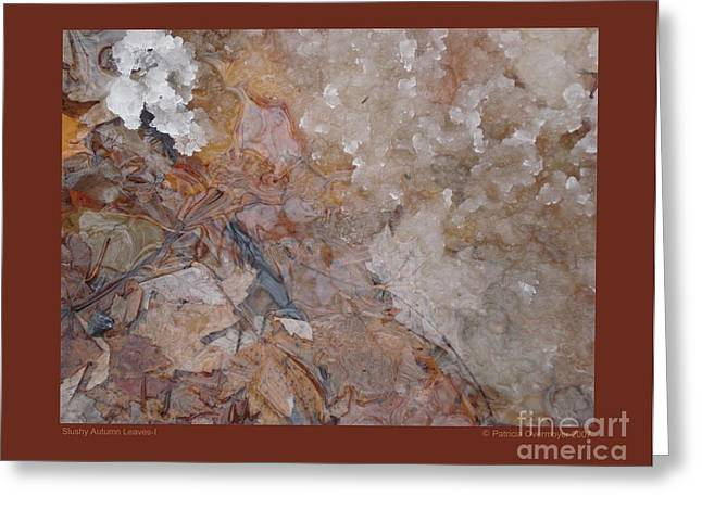 Greeting Card featuring the photograph Slushy Autumn Leaves-i by Patricia Overmoyer
