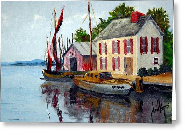 Greeting Card featuring the painting Small And Quaint Marina by Jim Phillips