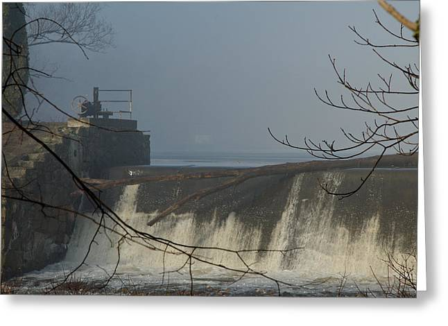 Small Dam In Fog Greeting Card