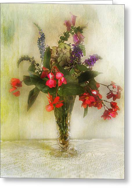 Small Vase Of Flowers Greeting Card by John Rivera