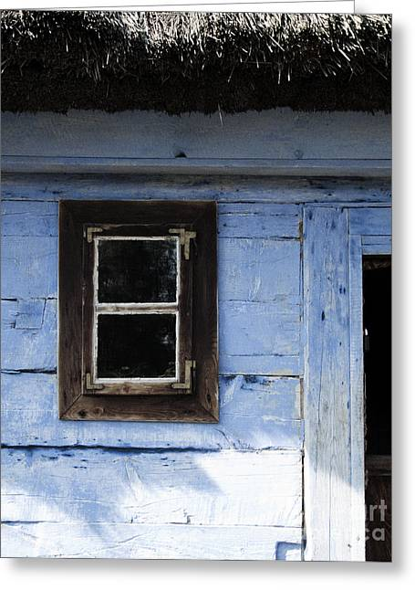 Small Window On Blue Wall Greeting Card by Agnieszka Kubica