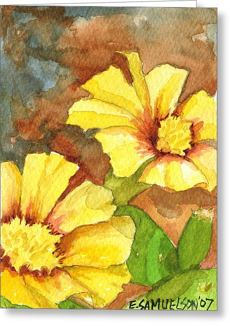 Small Yellow Flowers Greeting Card by Eric Samuelson
