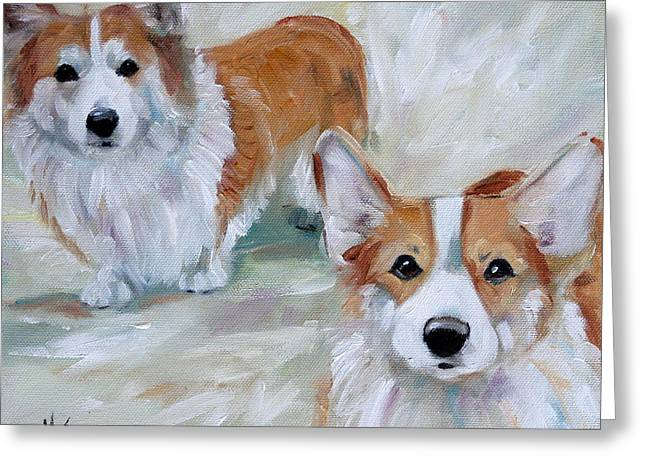 Smarty And Rosie Greeting Card by Mary Sparrow