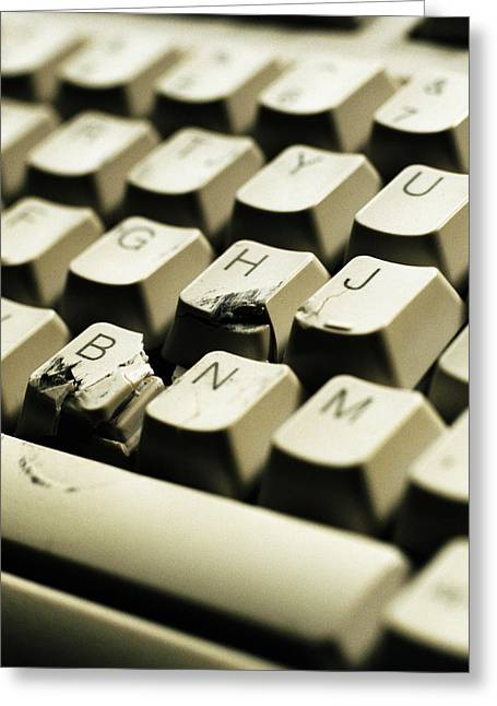 Smashed Keyboard Greeting Card by Kevin Curtis