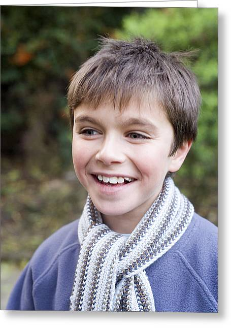 Smiling Boy Greeting Card by Ian Boddy