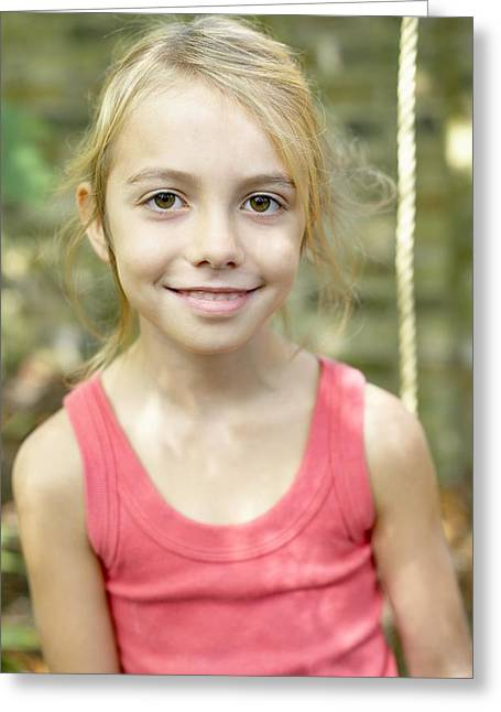 Smiling Girl Greeting Card by Ian Boddy