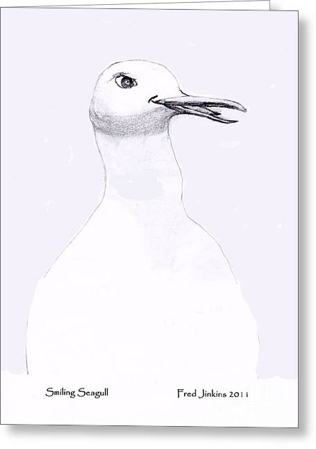 Smiling Seagull Greeting Card by Fred Jinkins