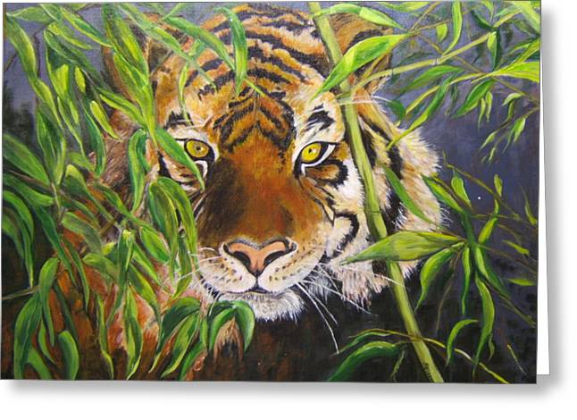Smiling Tiger Greeting Card by Maureen Pisano