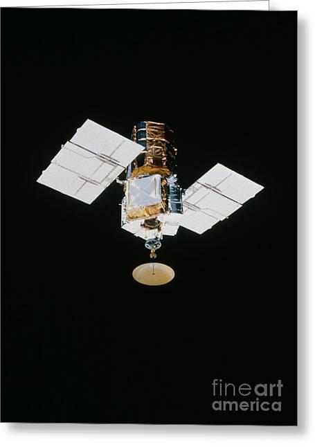 Smm Satellite In Space After Repair Greeting Card