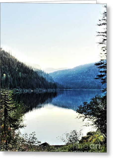 Smoke Behind Marshal Lake Greeting Card by Janie Johnson