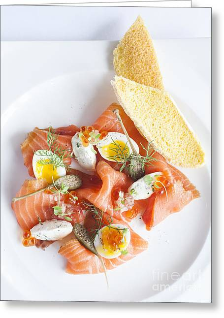 Smoked Salmon And Cream Cheese Greeting Card by Chavalit Kamolthamanon