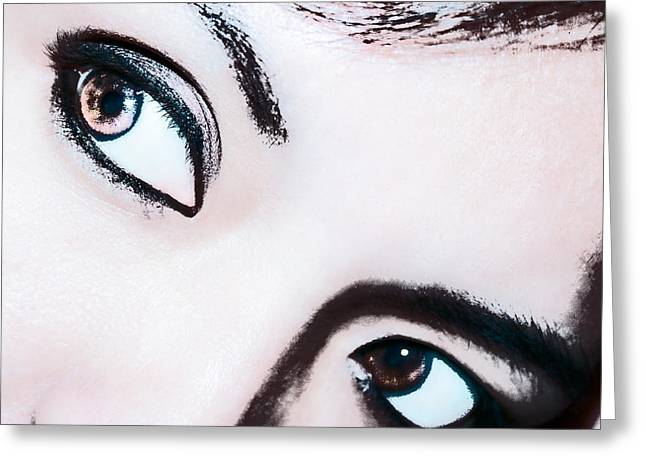 Greeting Card featuring the digital art Smokey Eyes Of A Woman by Ester  Rogers
