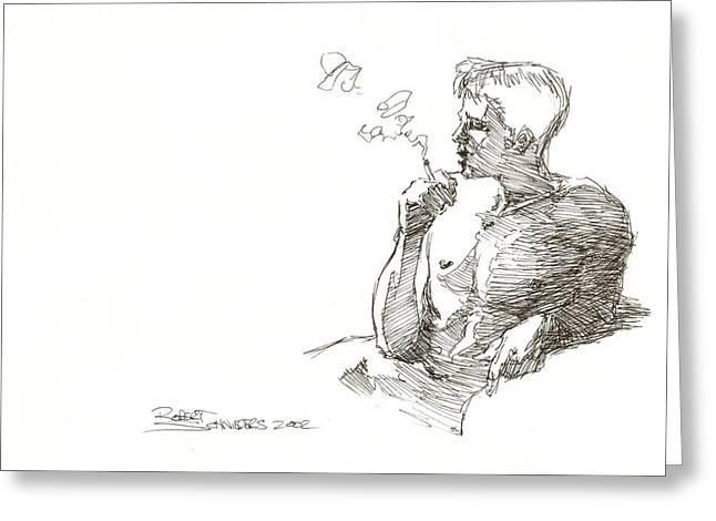 Smoking Greeting Card by Robert Schnieders