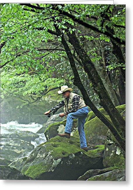 Smoky Mountain Angler Greeting Card by Marty Koch